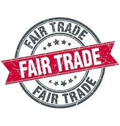 Fair trade red round grunge vintage ribbon stamp vector