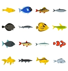 Fish icons set flat style vector image