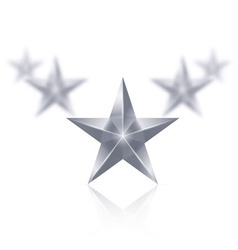 Five silver stars in the shape of wedge on white vector