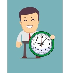 Funny cartoon office worker with clock vector
