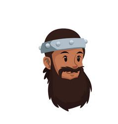 Halloween costume viking man beard helmet vector