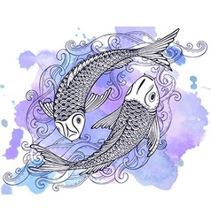 Hand drawn of two koi fishes japanese carp vector