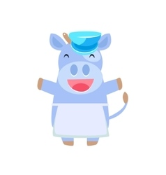 Happy cow in farmer apron vector