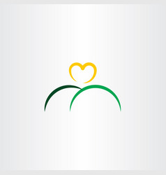 Heart sun and mountain logo icon vector