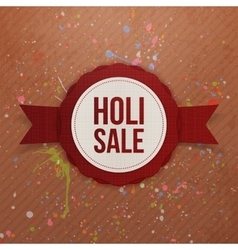 Holi Sale red circle Banner with Ribbon vector image vector image