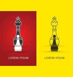 Pawn and king chess logo vector