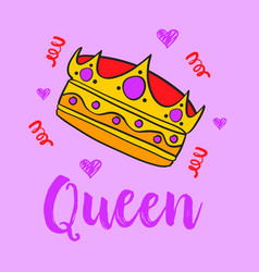 Queen crown style doodle collection vector