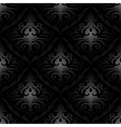 Seamless black silk wallpaper pattern vector