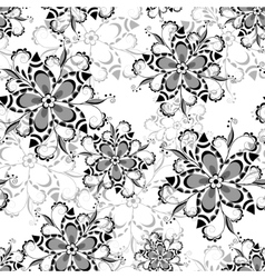 Seamless floral pattern black and white 3 vector image vector image