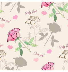 Seamless pattern with pink rose2-1 vector image vector image