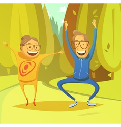 Senior people and gymnastics vector