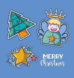 Set merry chrstmas decoration design vector
