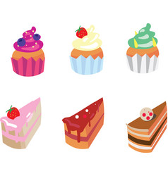 Set of appetizing cakes vector
