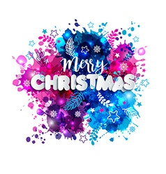 Sign merry christmas in paper style on multicolor vector
