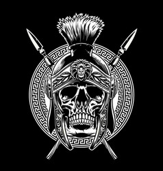 Skull of roman warrior with sword crossed vector