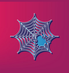 Spider on web blue 3d vector