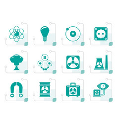 stylized atomic and nuclear energy icons vector image vector image