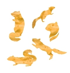 Watercolor silhouettes of a chipmunk vector