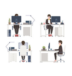woman working on computer female office worker vector image vector image