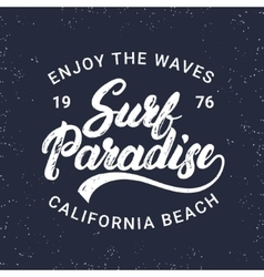 Surf paradise hand written lettering typography vector