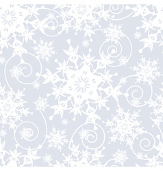 Grey seamless pattern with white snowflakes vector image