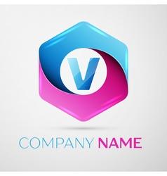 Letter V logo symbol in the colorful hexagonal on vector image