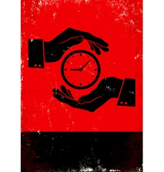 Hands holding clock vector