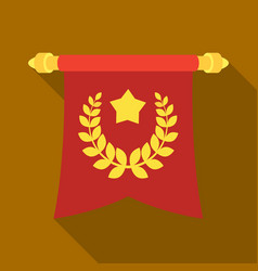 a red flag on a gold pole with the emblem of the vector image