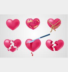 Romantic red elements set vector