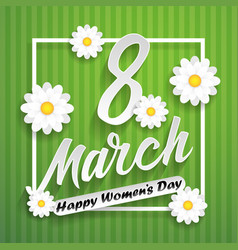 Women day lettering on green background with vector