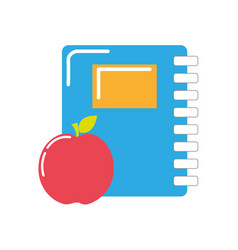 rings notebook tool with apple fruit vector image