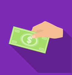 Hands giving money icon in flate style isolated on vector