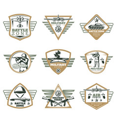 colored vintage military emblems set vector image