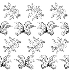 Seamless floral background outline vector image