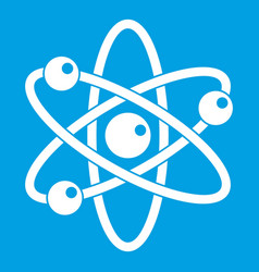 Atom with electrons icon white vector