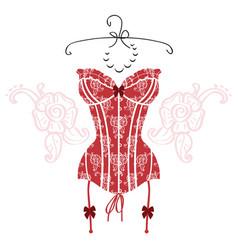 Ladys sexy red vintage corset vector