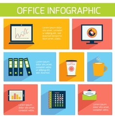 Office infographics flat business template vector