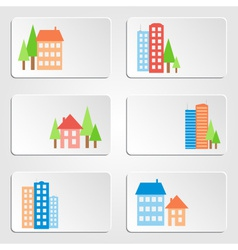 Six banners with colored houses and skyscrapers vector