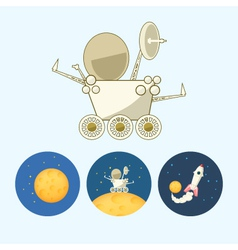 Set icons with moon spaceship moonwalker rover vector