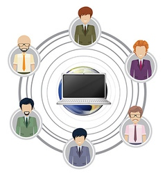 Technology connecting a group of people vector