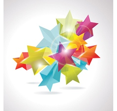 3d glass stars vector image