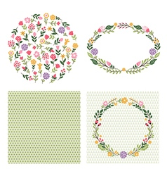 set floral graphic elements vector image