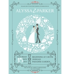 Wedding invitation with wreath compositionbride vector