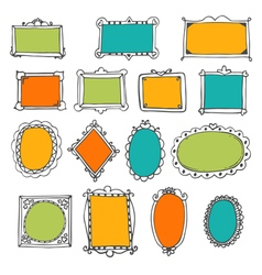 Set of hand drawn frames cute design elements vector