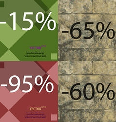 65 95 60 icon set of percent discount on abstract vector