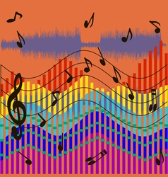 Musical waves background vector