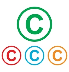 Copyright sign colorfull set vector