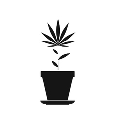 Hemp pot icon black simple style vector