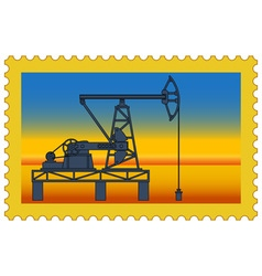 Oil pumpjack stamp vector