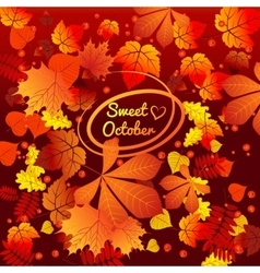 Autumn card with oval frame space for text vector